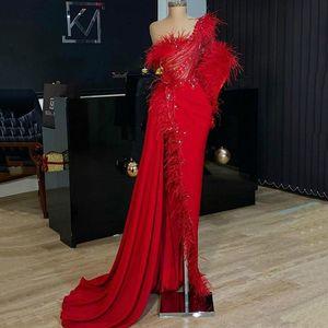 Asymmetrical Short Prom Dresses One Shoulder robe de soiree Major Beadings Sequins Satin Mermaid Evening Dress Cheap Party Gowns