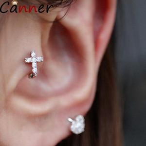 Canner 925 Sterling Silver Earrings Female Sterling Silver Cross Earrings Ear Bone Mini For Women Girl Simple Jewelry