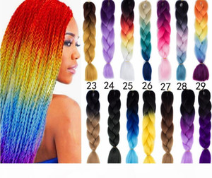 Black Sky Blue Kanekalon Ombre Braiding Hair Synthetic Crochet Braids Twist Braids Hair Ombre Jumbo Braid Hair Extensions Fast Shipping