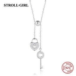StrollGirl 925 Sterling Silver Sweet Chave de Coração Bloqueio Link Cadeia Colares Pingentes para Mulheres Moda Jóias Frete Grátis Y19061703
