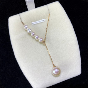 NYMPH Natural AKOYA Seawater Pearl Necklace Real 18K Gold Jewelry Pure AU750 Pendant Chain For Women Wedding Fine Gift D510 Z1126