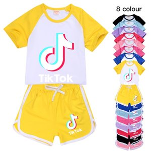 8 colors children boys and girls short-sleeved T-shirt + shorts children's leisure sports suit 215 Kids Clothing