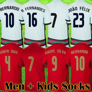 2021 футбол для футбола Jerseys Joao Felix Neves Bernardo B. Fernandes Canmano RUBEN NEVES NEVES DIOGO 20 21 21 MENAL MONEL K детей Носки Kit Футбольная рубашка