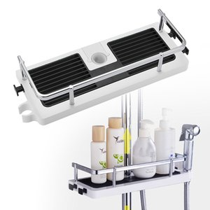 Shower Storage Rack Organizer Bathroom Pole Shelves Shampoo Tray Stand Single Tier No Drilling Lifting Rod Shower Head Holder