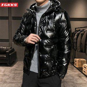 FGKKS Winter New Men Solid Down Jacket Men Warm Thick White Duck Down Coats Fashion Brand Casual Hooded Jackets Male