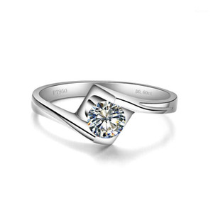 Nice Looking Test Positive 0.5CT 5mm D-E Moissanite Diamond Ring 925 Sterling Silver White Gold Cover Women Ring1