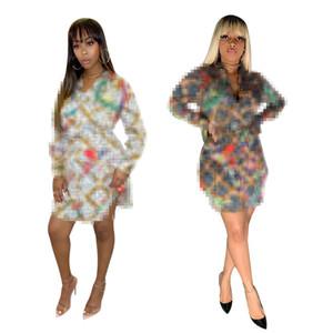 2021 Europa e América feminina moda digital letra de impressão sexy camisa saia novo vestido de produto S-2XL