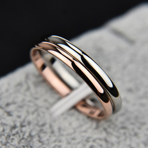 Fashion Titanium Steel Rose Gold Anti-allergy Smooth Simple Wedding Couples Rings Bijouterie for Man or Woman Gift