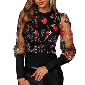 Women Embroidered Floral Shirts Fashion Mesh Puff Sleeve Tops Blouse Office Ladies Slim O Neck Flowers Pullovers Shirts