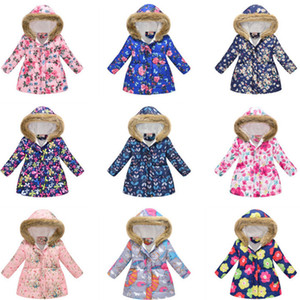 Девушки меховые пальто Длинные малыш девушка хлопчатобумажная куртка дети молнии пальто зима детская вариант одежды YHM127-1