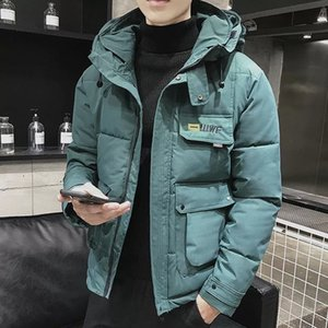 New Winter Men Parka Big Pockets Casual Jacket Hooded Solid Color 5 Colors Thicken And Warm Hooded Outwear Coat Size M-5XL 201124