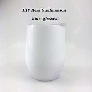 Heat Sublimation 12oz Wine Tumbler Stainless Steel Egg Cups With Lid Vacuum Insulated Coffee White Mug DDA507