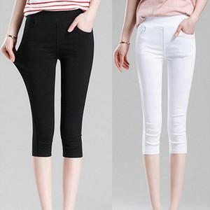 2020 Womens Summer Black Leggings Pants Slim Thin Stretch Trousers White Casual Capris Pencil Pants Plus Size 4XL 5XL 6XL