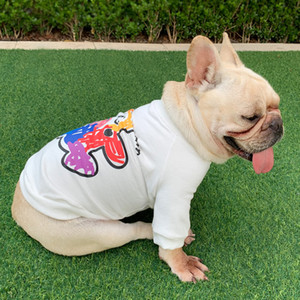 Moda Pet Dog Casual T-shirt Cute Cartoon Stampato Dog Cat T-shirt Teddy Bulldog Schnauzer Abbigliamento all'aperto