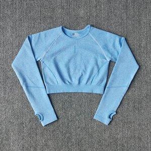 WAREBALL DAMEN T-Shirt Sportswear Crop Top mit Ärmeln Nahtlose Yoga Sport Top für Fitness Langarm Sporthemd