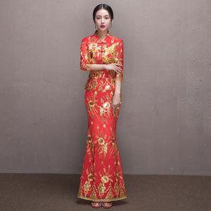Bride Wedding Qipao Long Cheongsam Chinese Traditional Dress Slim Retro QiPao Embroidered Toast Clothing Fishtail Cheongsam