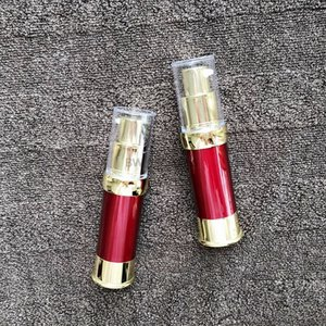 200pcs lot 15ml Empty Travel Airless Bottle Pump Press Cosmetic Vacuum Lotion Bottles Wine Red Color Refillable