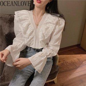 Oceanlove Voldles Femmes Chemises Blanc Élégant V Printemps solide 2021 19539 Blusas Mujer Dentelle Coréen ins fashion Blouses Col Jmrne