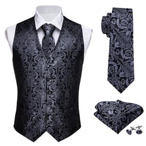 Designer Mens Classic Black Paisley Jacquard Folral Silk Waistcoat Vests Handkerchief Tie Vest Suit Pocket Square Set Barry.Wang T200113