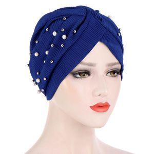 Women Stretch Turban Caps India Hat Female Head Wraps Islamic Headscarf Bonnet Pearls Turban Hijab Muslim Turbantes