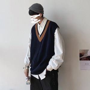 Privathinker Men Fashion V-Neck Glew Gilet Maglioni 2020 Autunno Uomo Spollover senza maniche Uomo Abbigliamento preppy Giapponese Abbigliamento maschio Top W1217