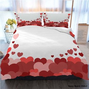 3pcs Bedding Cotton Set Super King Duvet Cover Set Red Love Seamless Background Made From Polyester Duvet Cover Luxury Bedding Sets