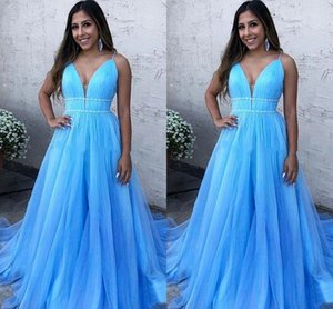 Baby Blue 2021 Evening Dresses Formal Elegant Long Pluning V-neck Pleated Beaded Tulle Young Women Prom Dress Homecoming Bridesmaid Dress