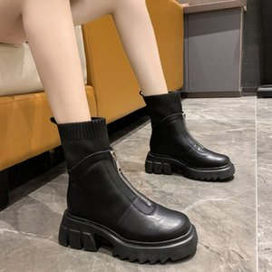 2021 Neue Frauen Knöchelstiefel PU Leder Stretch Stoff Schuhe Damen Rutschfeste Warm Plüsch PLARFORM THE BOODN CHUNKY Heels Botas Yehh