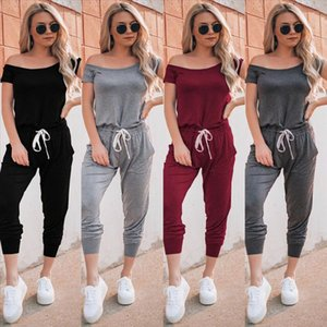 New Women Ladies Fashion Casual Summer Jumpsuit Off Shoulder Short Sleeve Solid Jumpsuit Bodycon Trousers Party Clubwear
