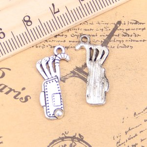 90pcs Jewelry Charms golf bag clubs 25x11mm Antique Silver Plated Pendants Making DIY Handmade Tibetan Silver Jewelry