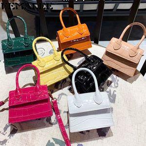 Moda Pequeño patrón de cocodrilo Bolso de mujer PU Cuero Top-Handle Handbags Mini Hombro Crossbody para Mujeres Messenger Bags Q1208