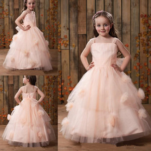 New 2021 Flower Girls Dresses Lace Top Spaghetti Formal Kids Wear For Party Free Shipping Toddler Gowns YU123