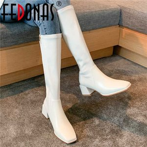 FEDONAS Side Zipper Tight High Boots For Women Wide Leg 2020 Winter Shoes Woman Heels Classic Design Party Casual Knee High Boot