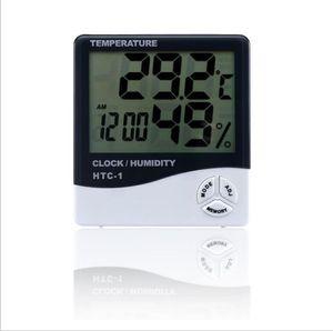 الرقمية LCD درجة حرارة الرطوبة على مدار الساعة الرطوبة متر ميزان الحرارة مع Clock التقويم إنذار HTC-1 100 Pieces UP OWF3059