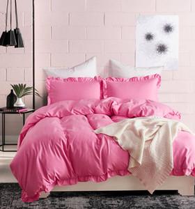 Постельные принадлежности Сплошное рюшачьего чехол для одеяла, шлифовальные полиэстера роскошные девушки набор близнецов король king king утешитель одеяла одеяло льняное постельное белье
