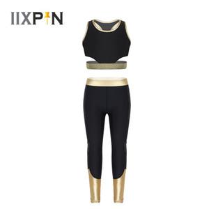 Kids Girls Ballet Dance Costume Outfit Dance Gymnastics Leotard Tanks Bra Tops Crop Top With Leggings Pants Workout Wear