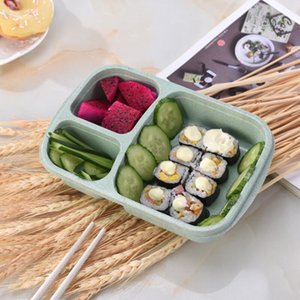 Outdoor Camping Lunch Box Food Grade Wheat Straw Portable Bento Box Fruit and Other Snacks Storage Boxes DHE3132