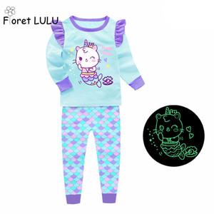 Toddler Erkek Pijama Çocuklar Pamuk Enfant Kızlar Pijama Setleri Glow Baykuş Bebek Kız Pijamas Mermaid Gecelik Giysileri Giyim Giyim Çocuk LJ201016