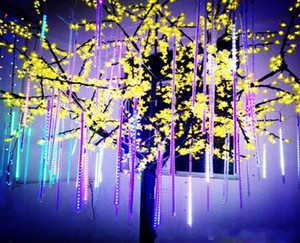 8pcs / set nevadas tira de LED luz de la Navidad se ilumina Lluvia de meteoros Tubo Nublado el enchufe de los EEUU / Tubos de luz LED 100-240V de la UE