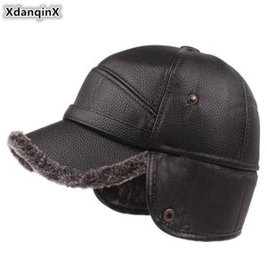 XdanqinX New Winter Men's Thick Velvet Baseball Caps Men Earmuffs Hats Warm Hat Middle-aged Fashion Faux Leather Brands Cap