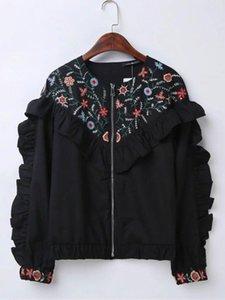 2020 새로운 검은 색 둥근 목 꽃 수 놓은 자켓 슬리브 전면 수 놓은 커프스 프론트 zip 고정