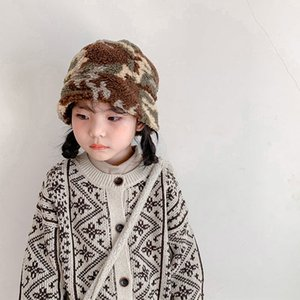 Children Winter Plush Camouflage Peaked Hats Boys Girls Toddler Fisherman Faux Fur Warm Thermal Bucket Hats Kids Baby Sun Caps Z1128