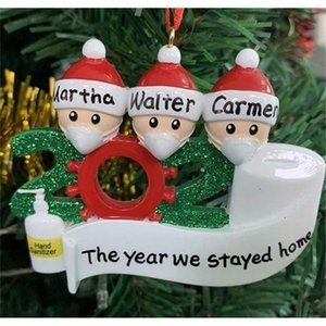 A-Quarantine Christmas Decoration Wedding Party Gifts Product Personalized Family Of Ornament Pandemic with Face Masks Hand Sanitized