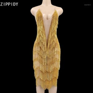 Bling Gold Stones Mish Mish Backless Mini Dress Aniversário Comemore Vestido Feminino Cantor DJ Prom Show YouDu1