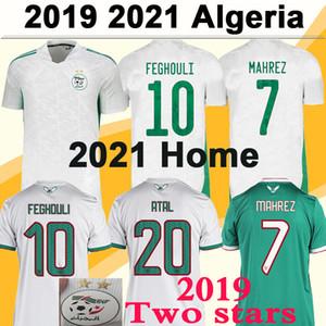 2020 2021 Cezayir Mahrez Feghouli Erkek Futbol Formaları 2019 Afrika Kupası İki Yıldız Slimani Bennacer Atal Ev Uzaktan Futbol Gömlek Kısa Kollu