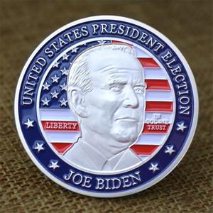 Biden Président Médaillons en relief commémoratif Cadeau Silver Coin Métal Peinture Nouveau président de l'Amérique Joe Biden Badge BWD3014