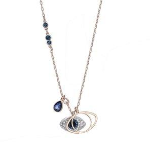 أزياء شيطان العين قلادة العيون الزرقاء الأزياء الإناث عناصر سواروفسكي سلسلة كريستال الترقوة سلسلة لصديقة