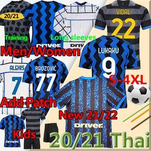 4XL 2021 2022 Milan Soccer Jersey Barella Lukaku Lautaro Alexis Hakimi 20 21 Inter Uomini Donne Donne Kit Kit Kit a maniche lunghe Camicie da calcio T-shirt da calcio