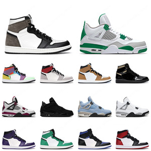 1 ossidiana uomo donna scarpe da basket 1s punta nera lucky green bred 4 4s black cat white cement mens trainer sneakers sportive