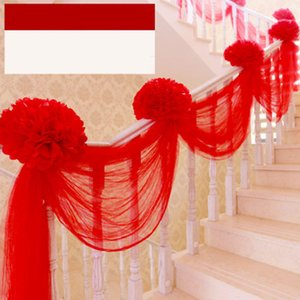 Wedding Party Background Veils Decoration Colorful Stairs Gauze Curtains Backdrop Fashion Wedding Chair Back Gauze Decoration